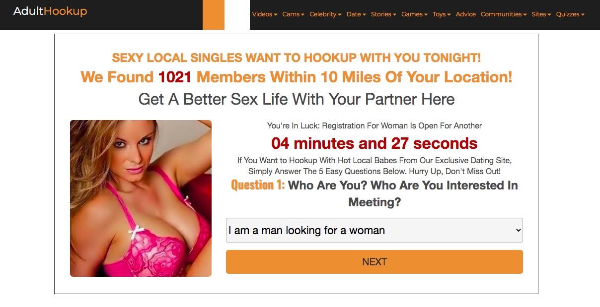 Adulthookup main page