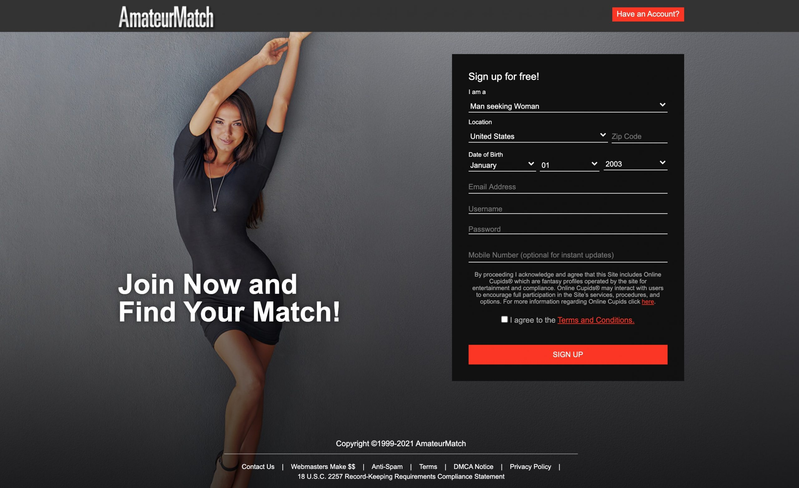 AmateurMatch main page