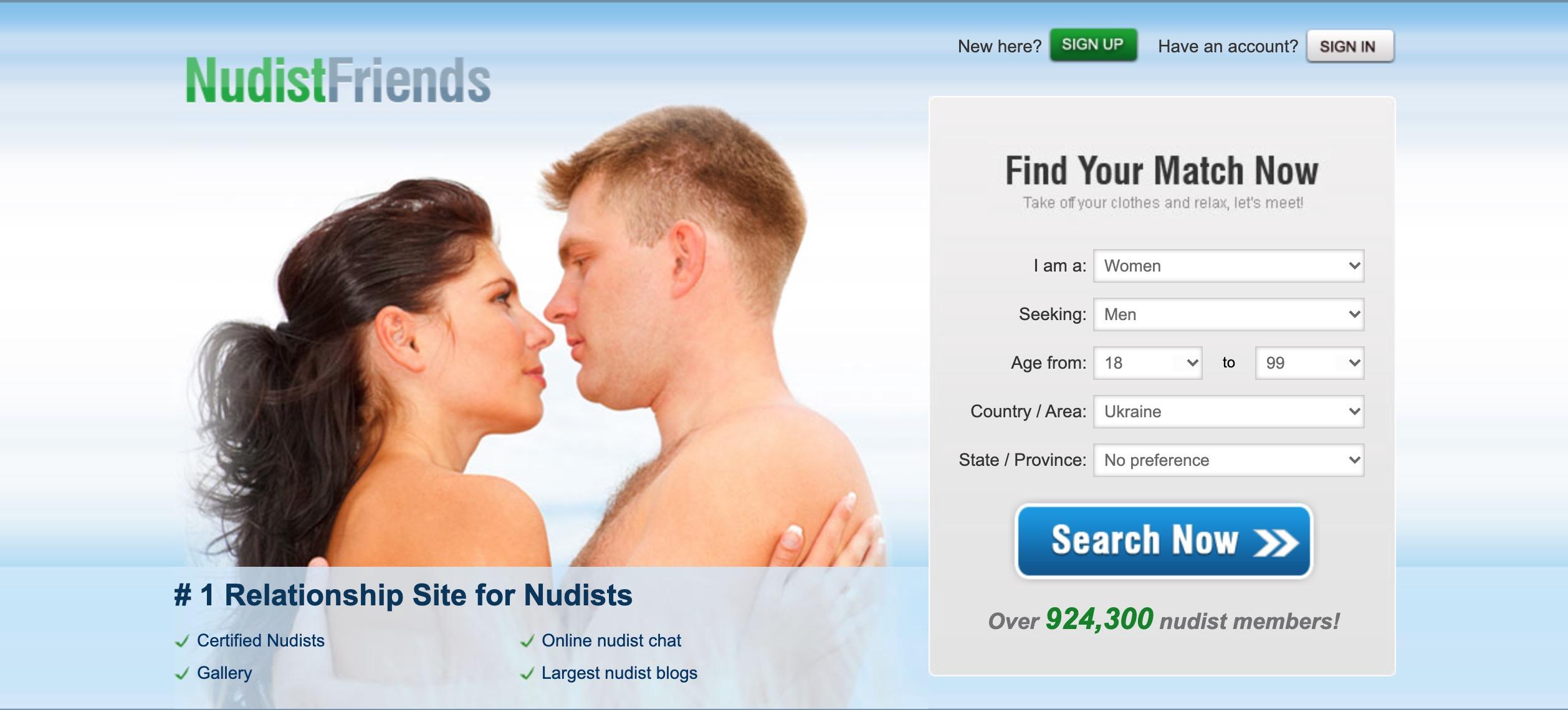 NudistFriends main page